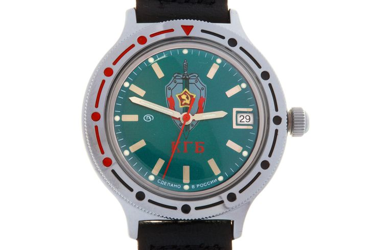 """WATCH VOSTOK KOMANDIRSKIE 921945 KGB USSR. On the watch face, below the twelve-hour point, there is the emblem of the Committee for State Security (KGB) of the Soviet Union. The abbreviation below the emblem reads: """"KGB"""". #russian #mechanical #military #watches #vostok #komandirskie #gifts #souvenirs #communism #intelligence #kgb #soviet  #USSR"""