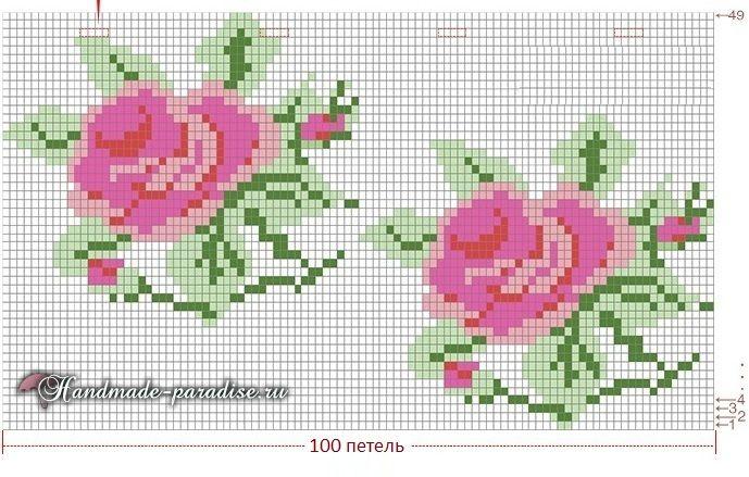 Схема вязания жаккардового узора с розами