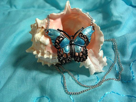 Hand Painted Butterfly Necklace. Turquoise and by JanHallDesigns