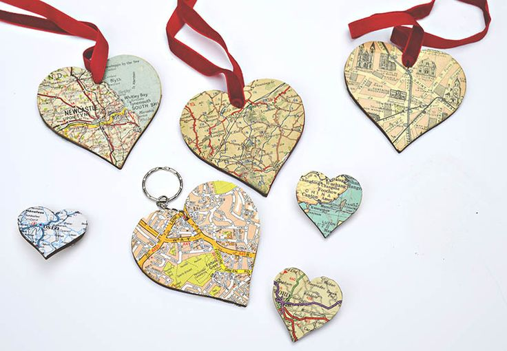 DIY map heart ornament, keyring and brooches. Great for a handmade personalised gift.