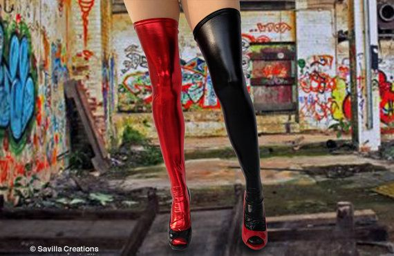 Harley Quinn Thigh high stockings. by SavillaCreations on Etsy