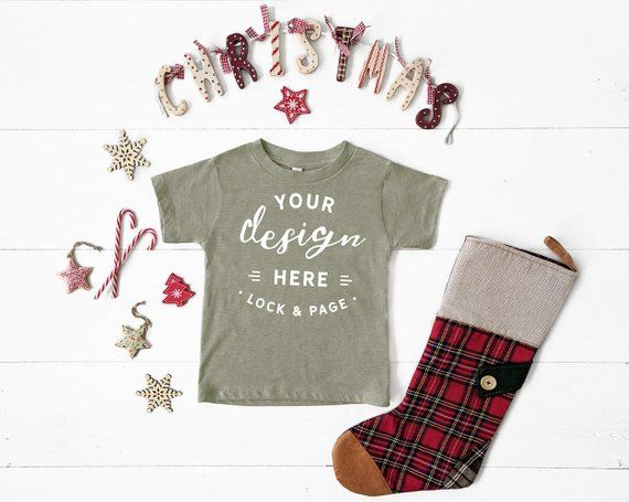 2aacd0fbd Heather Stone Bella Canvas 3001T Toddler T-Shirt Christmas Mockup Unisex  Kids Festive Xmas Mockup With Stocking, Candy, Stars