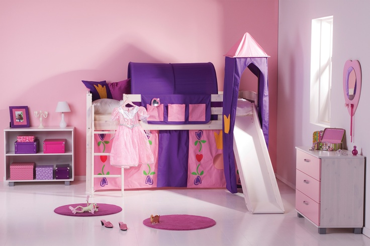 Girls' Trendy Cabin Bed with Slide and Tent- A fun midsleeper that will have you child sliding out of bed. The colourful play tent, tunnel and tower make a great adventure and encourage imaginative play.
