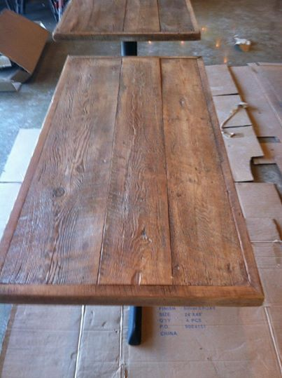 Reclaimed Wood White Weathered Table Top Bar Pub Bistro Cafe Pizza Restaurant Ideas Pinterest And