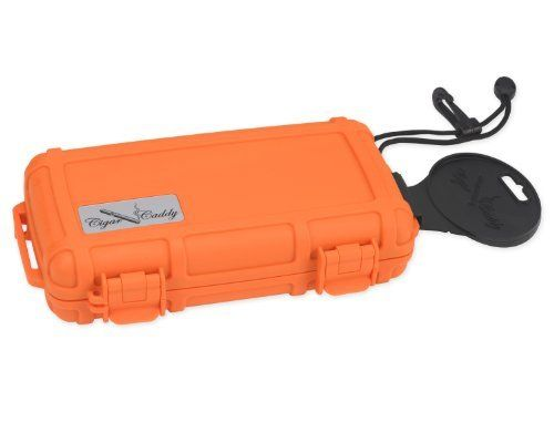 Quality Importers Cigar Caddy 3400-R Blaze 5 Cigar Waterproof Travel Humidor, Blaze Orange Rubberized Exterior by Quality Importers. $32.60. Holds up to 5 churchill cigars. 1 humidifier disc in lid. 2 Removable/replaceable locking clasps, stainless steel latch hinges. Made from super strong abs molded plastic. Floats on water, airtight seal, waterproof to 100 feet deep. 5 Cigar - Waterproof Travel Humidor - Blaze Orange Rubberized Exterior - The ideal travel humidor made for...