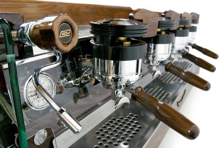 Espresso Parts, custom Walnut Four Group La Marzocco GS2, for Intelligentsia Venice California.