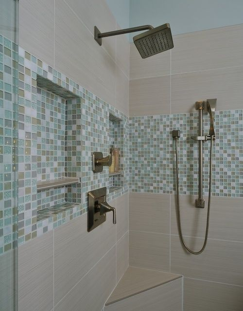 25 Beautiful Shower Niches For Your Beautiful Bath Products ➤ http://CARLAASTON.com/designed/25-beautiful-shower-niches