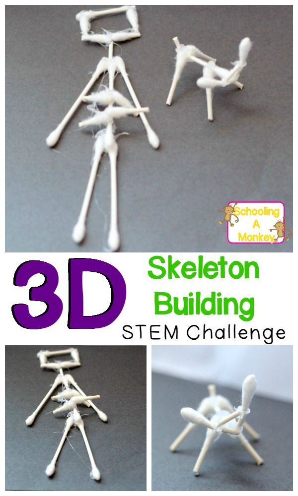 Combine science with Halloween with this simple STEM challenge to build 3D animal and human skeletons from cotton swabs! Halloween science is the best!