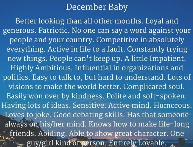 December Born Baby Facts Personality Traits Amazing Qualities Of People Born In December December Born Birth Month Quotes Birthday Quotes For Me