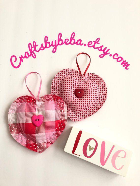 Valentine Decorative Hearts Set Of 2 Hearts Fabric Valentine Hearts Valentine Hanging Hearts Hanging Valentine Decorations Fabric Hearts Fabric Crafts