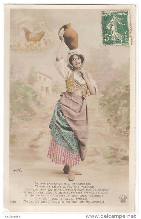"""Carte Postale Ancienne """"LA LAITIÈRE ET LE POT AU LAIT 2."""" France 1910."""
