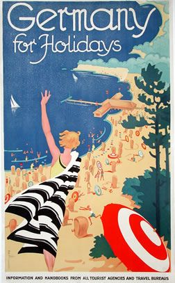 Germany for holiday, 1930 - Leonard Fries - vintage travel poster | from Fickr #beach #essenzadiriviera.com