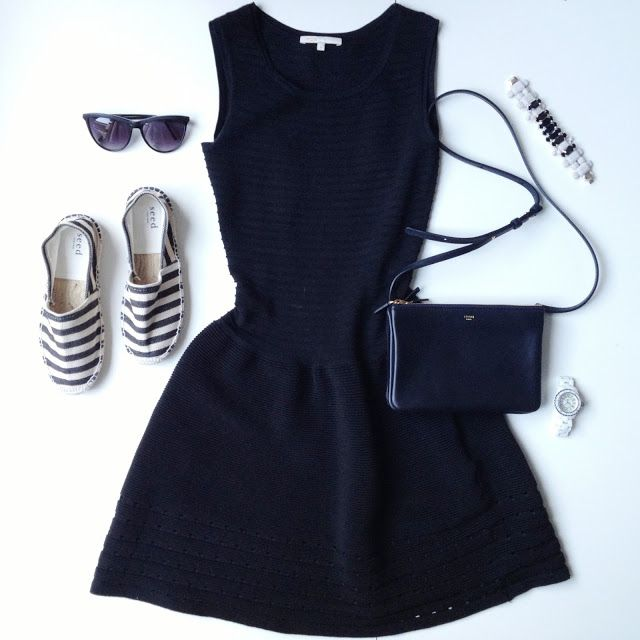black dress + Seed Heritage striped espadrilles