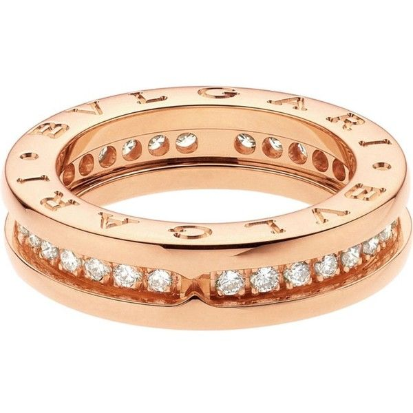 bvlgari bzero1 18kt pinkgold and diamond ring cad liked on polyvore featuring jewelry rings rose gold diamond ring rose gold pave diamond