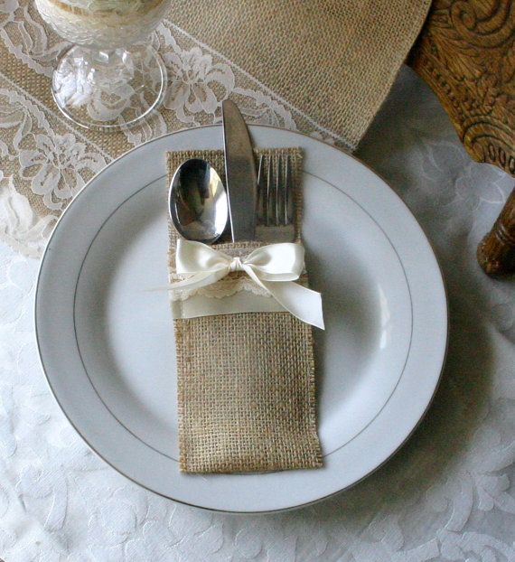 Burlap silverware holders, Wedding table decor