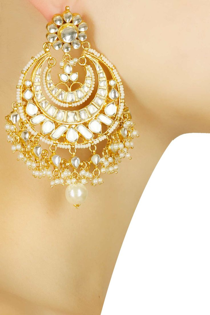 Gold plated classic mughal kundan chandbalis available only at Pernia's Pop Up Shop.