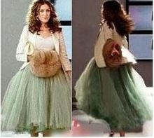 Envío gratis 5 la gasa del hilado capas falda de la torta Sarah Jessica Parker princesa verde de la señora dama de honor de bohemia boho lolita plisada(China (Mainland))