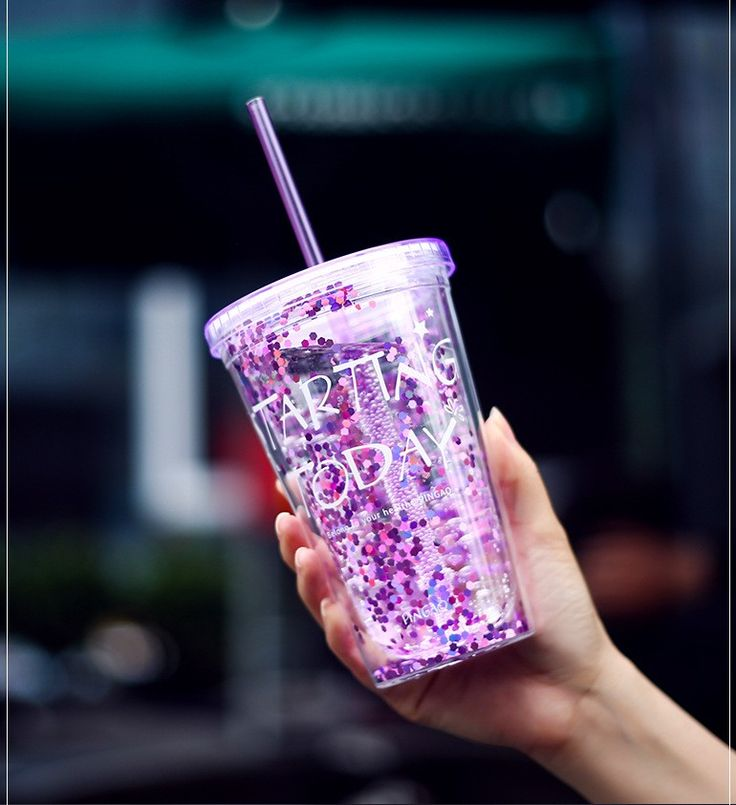 New Arrival 450ML Water Bottle Creative Plastic Cup with Straw Summer Double Wall Ice Cup 4 Colors