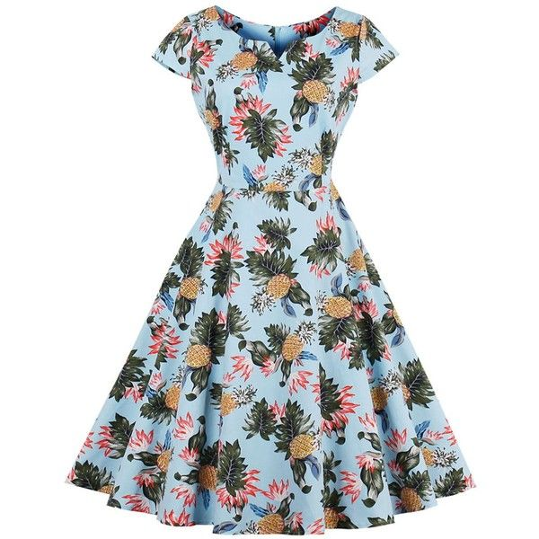 Pineapple Print A Line Plus Size Vintage Dress Light Blue 4xl ($15) ❤ liked on Polyvore featuring dresses, women plus size dresses, womens plus dresses, plus size dresses, vintage dresses and blue dress