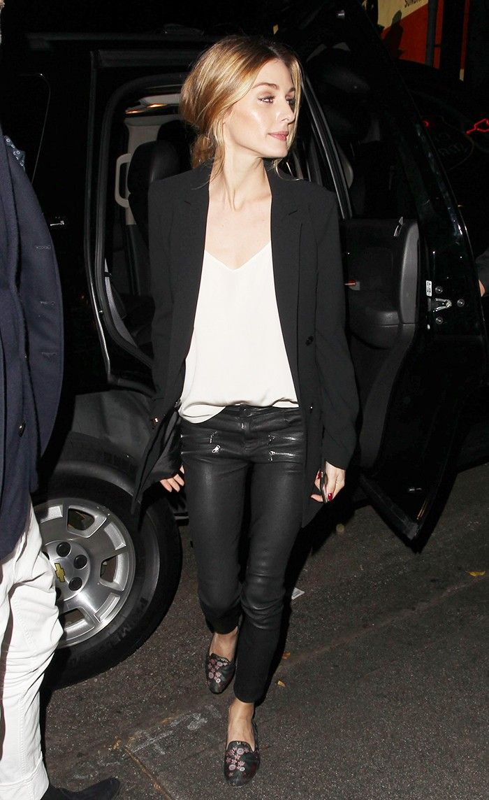 The Simple Way Olivia Palermo Dresses Up Skinny Jeans via @WhoWhatWear