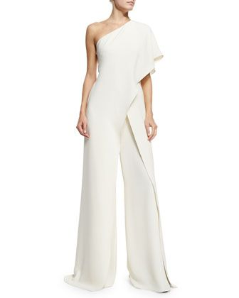 Ralph Lauren Collection silk crepe jumpsuit. One-shoulder neckline. Half sleeve at left side. Draped across front. Relaxed, wide legs. Hems fall to floor. Made in Italy.