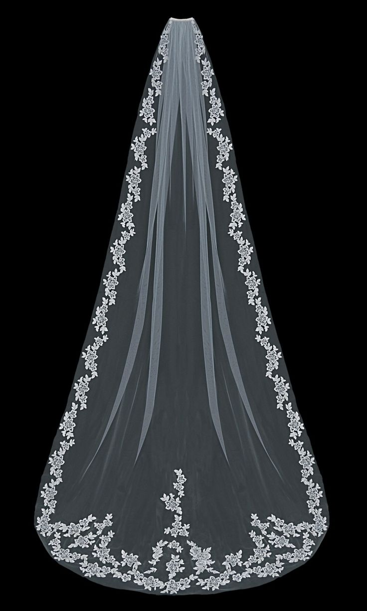 Silver pearl marisol white lace 1 - Lace Cathedral Length Wedding Veil Envogue V1597c