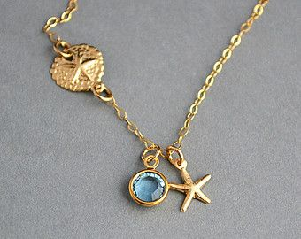 Sand Dollar Necklace, Starfish Necklace, Gold Birthstone Necklace, Sand Dollar Starfish Necklace, Beach Necklace by malizbijoux. Explore more products on http://malizbijoux.etsy.com