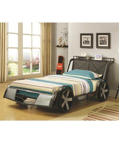Rogan Silver Race Car Twin Size Platform Bed 400701 Twin Beds