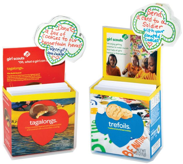 Create a Gift of Caring Card Holder using empty cookie boxes! When customers donate cookies to Gift of Car… | GS Cookie Love! | Girl …