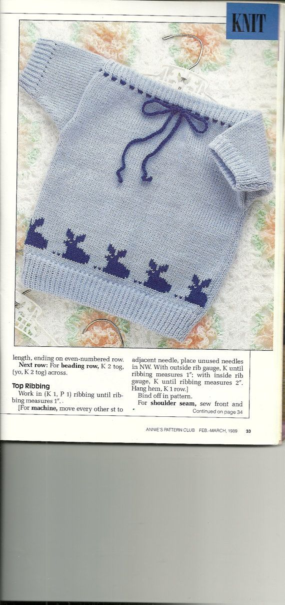 Knit baby sweater pattern, Crochet bee pattern, Vintage Needlework Patterns from Annie's Pattern Club, Feb-March 1989