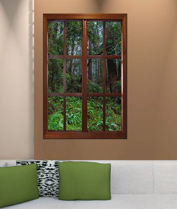 Wall Mural Window Print On Paper Custom For Eddie Etsy Fake Window Faux Window Wall Murals