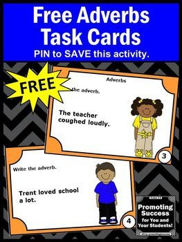 FREE Adverbs Task Cards for Parts of Speech Grammar Games and Activities for Literacy Centers SCOOT or Scavenger Hunt