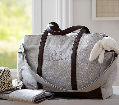 Grey Herringbone Classic Diaper Bag #pbkids  We bought this for Benjamin!