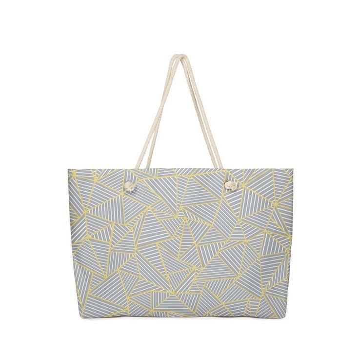Geometric Grey and Gold Weekender Bag $30