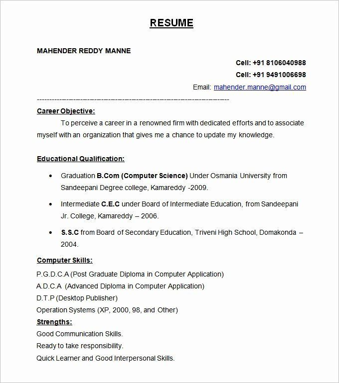 Resume Format For Freshers Elegant 47 Best Resume Formats Pdf Doc Doc Elegant Format Formats Resume Format For Freshers Best Resume Format Job Resume Format