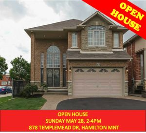 OPEN HOUSE – 878 TEMPLEMEAD DRIVE, HAMILTON. SUN. MAY 28, 2-4pm
