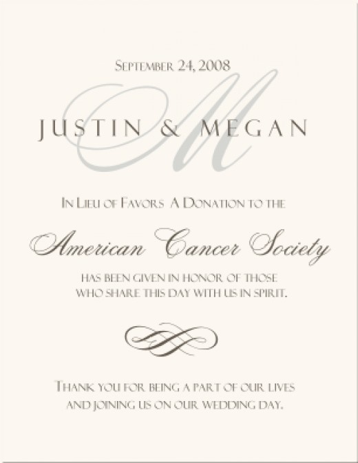 Ideas In Lieu Of Wedding Gifts : In lieu of favor donation cards can be made on behalf of the loved ...