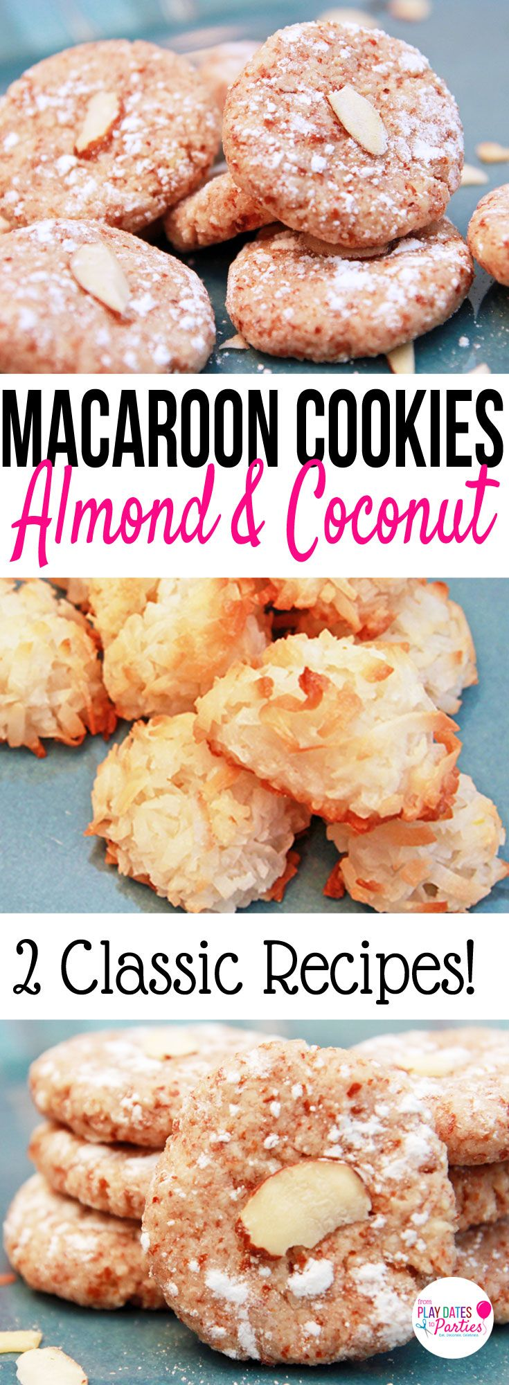 Did you know that macaroons were originally made with almonds instead of coconut? Take a look at the comparison of a coconut macaroons recipe vs an almond macaroons recipe. Which do you think was better? https://playdatesparties.com/12-days-of-christmas-cookies-macaroons/