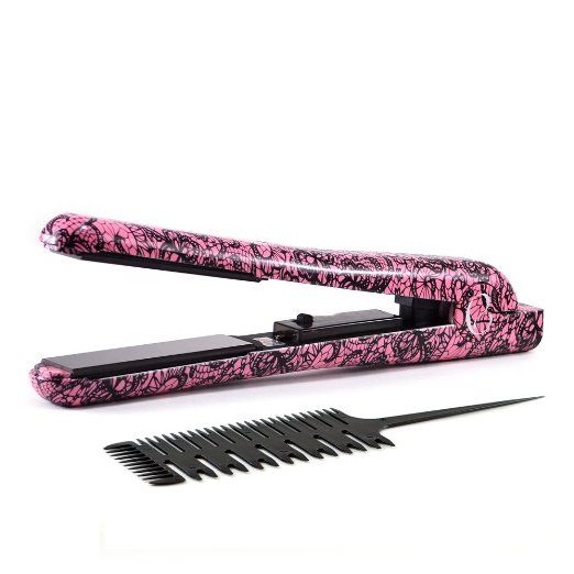 "Envy Professional 1.25"" Ceramic Ionic Flat Iron Hair Straightener Fast Heating Time Includes Professional Comb and Heat Resistant Travel Case Worldwide Dual Voltage 110v - 220v (Pink Lace) : Beauty"