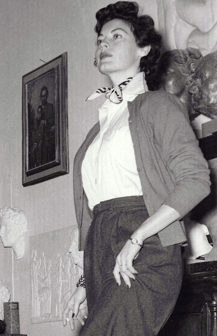 "gatabella: "" Ava Gardner posing for her statue in The Barefoot Contessa, 1954 """