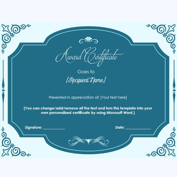 Elegant Award Certificate Template #blankawardcertificate - award certificates word