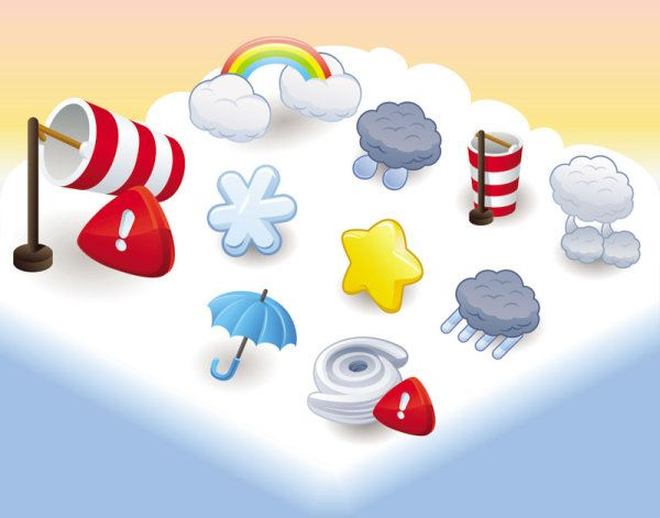 зонт, радуга, облака, иконки, в векторе, векторный рисунок, векторная картинка, графика, векторные иконки