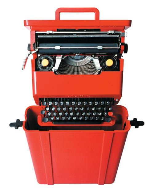 Ettore Sottsass. Valentine typewriter for Olivetti, 1969. ABS plastic and other materials, 11.7 x 34.3 x 35.2 cm. 'Ettore Sottsass: Work in Progress', Design Museum, London.