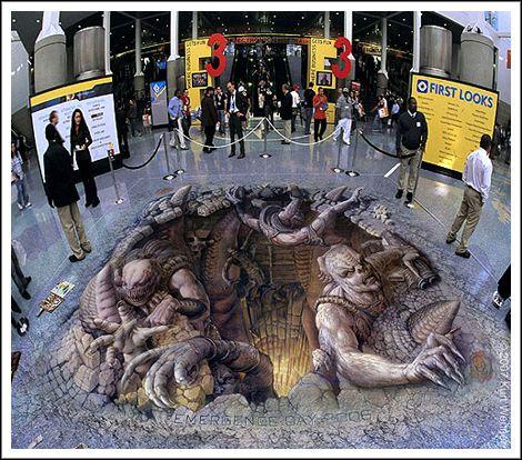Street illusion di Julian Beever e Kurt Wenner, illusioni ottiche