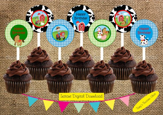 Digital Farm Cupcake Toppers. 2 Inch Circles. Instant