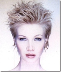Прямые, коротко подстриженные волосы уложены гелем, при просушивании феном их расчесывали щеткой с редкими зубьями.