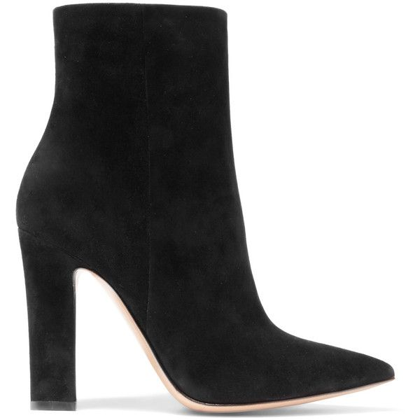 Gianvito Rossi Suede ankle boots ($995) ❤ liked on Polyvore featuring shoes, boots, ankle booties, black, black high heel booties, black booties, black bootie boots, black bootie and black pointed toe booties