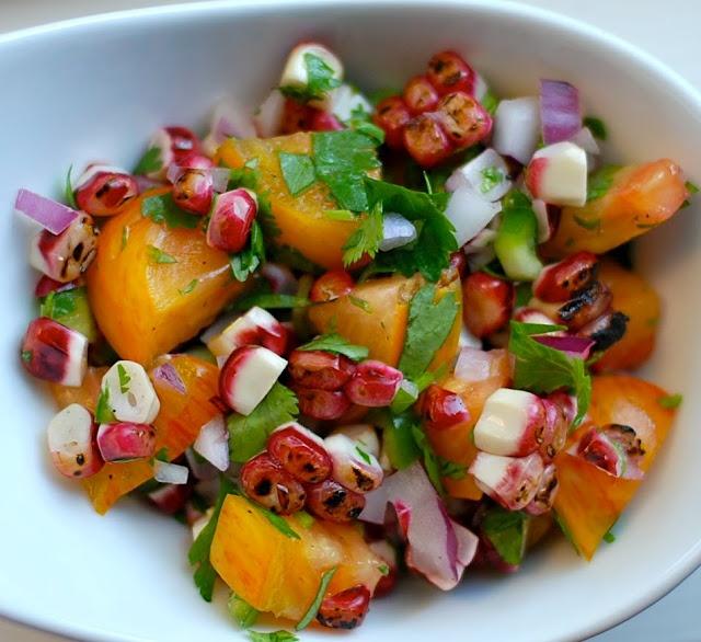 Roasted Corn Salsa with heirloom tomato | SALADA | Pinterest