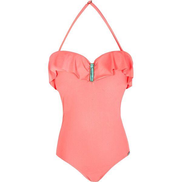 La Playa Pale Pink Bustier Swimsuit With Ruffles - Maio Bustier Pedra (265 PEN) ❤ liked on Polyvore featuring swimwear, light pink, fringe swim suits, swim suits, frilly swimsuit, flounce swimwear and swim costume