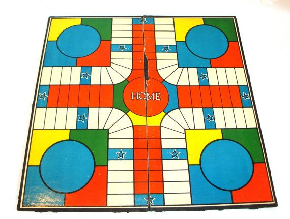 Vintage Board Game - India Home Parcheesi Game - Vintage Parcheesi - Board Game - Vintage Board Display